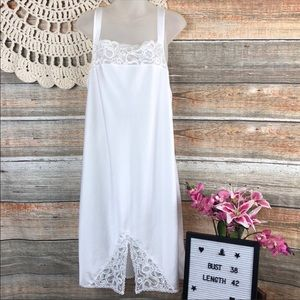 Vintage Large Wacoal White satin lace Slip